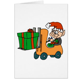 elf with package on forklift card