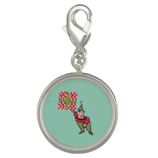 Elf With Polka Dot Gift round charm