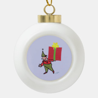 Elf With Red Box Christmas Ball Ceramic Ball Christmas Ornament