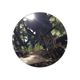 Elfin Saddle Mushroom Round Clock