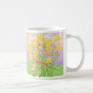 Elfleda and Kiwi in the daffodils Coffee Mug