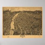 Elgin Illinois 1880 Antique Panoramic Map Poster