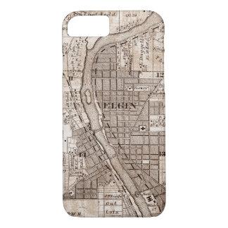 Elgin Illlinois 1870 Plat Map Fox River Downtown iPhone 8/7 Case