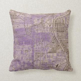 Elgin Illlinois 1870 Plat Map Fox River Downtown Throw Pillow