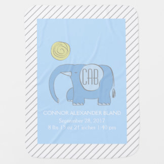 Eli Blue the Elephant Baby Blanket
