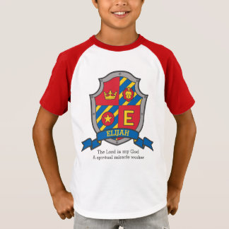 Elijah letter E name meaning boys crested shield T-Shirt