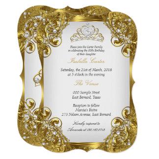 Elite Golden White Pearl Lace Tiara Birthday Party Card