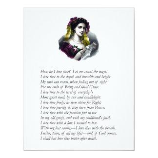 """Elizabeth Barrett Browning - 43 4.25"""" X 5.5"""" Invitation Card"""