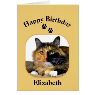 Elizabeth Calico Cat Happy Birthday Card