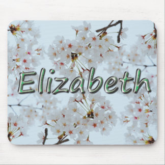 Elizabeth_chrome text_white flowers mouse pad