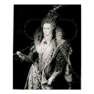 Elizabeth I drawn by W.Derby and engraved by Poster
