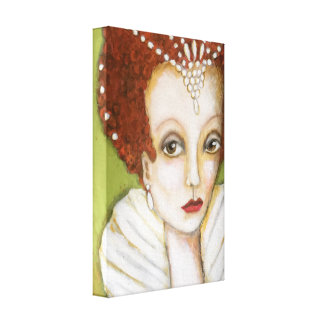 Elizabeth I Whimsical Painting Elizabethan Pearls Canvas Print