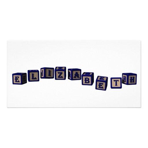 Elizabeth toy blocks in blue picture card
