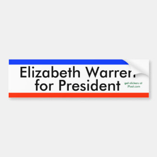 ELIZABETH WARREN FOR PRESiDENT 2016 bumpersticker Bumper Sticker