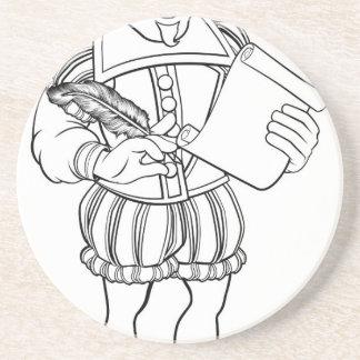 Elizabethan Shakespeare Cartoon Character Coaster