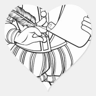 Elizabethan Shakespeare Cartoon Character Heart Sticker