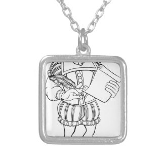 Elizabethan Shakespeare Cartoon Character Silver Plated Necklace