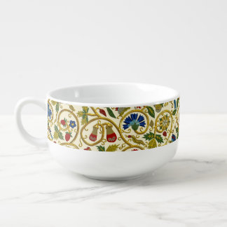 Elizabethan Swirl Embroideries-Goldwork imitation Soup Mug