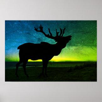 Elk And Aurora Borealis Poster