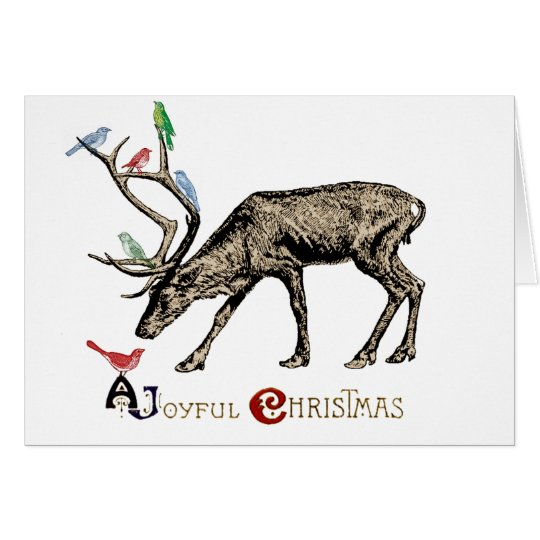 Elk and Birds Merry Christmas Card