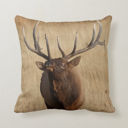 elk and eye bulging throw pillow