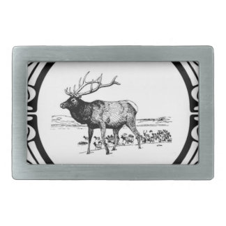 elk art in frame belt buckle