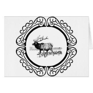 elk art in frame card