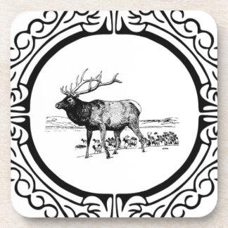 elk art in frame coaster