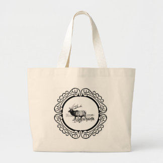 elk art in frame large tote bag