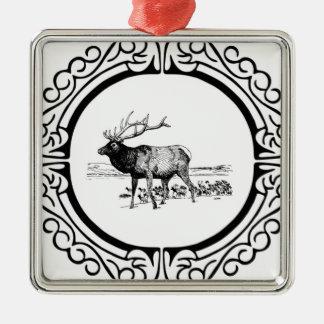 elk art in frame metal ornament