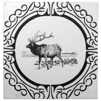 elk art in frame napkin
