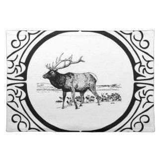 elk art in frame placemat