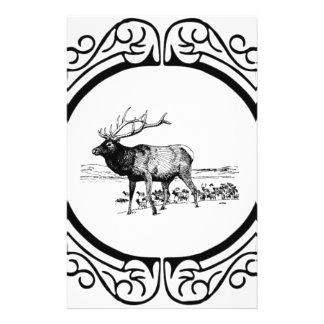 elk art in frame stationery