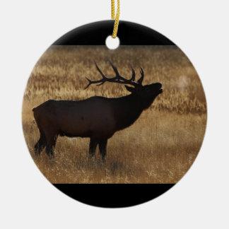 elk bugle and steam ceramic ornament