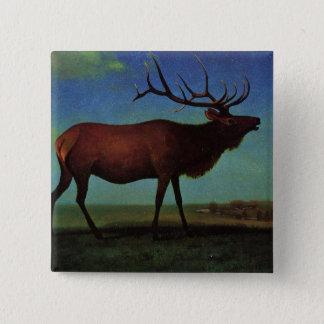 Elk By Albert Bierstadt 2 Inch Square Button