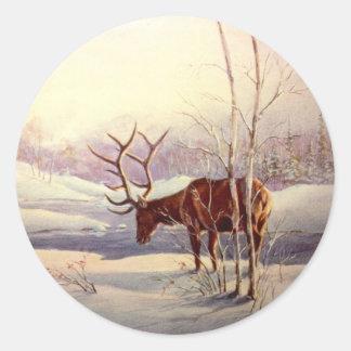 ELK by SHARON SHARPE Classic Round Sticker
