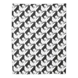 Elk Deer White & Black Rustic Forest Pattern Duvet Cover
