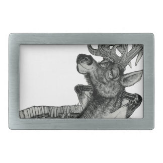 ELK IN HOTTUB RECTANGULAR BELT BUCKLE