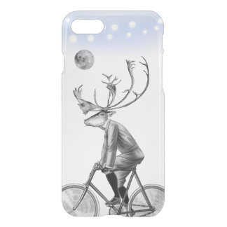 Elk in Suit Riding Vintage Bicycle Under the Moon iPhone 8/7 Case