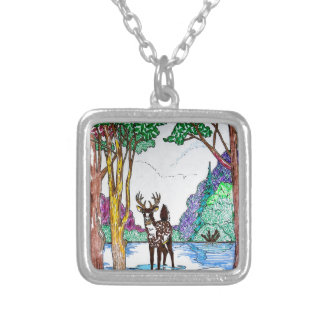 ELK IN WOODLAND SILVER PLATED NECKLACE