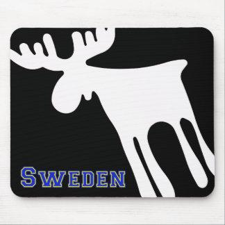 Elk/Moose, white, Sweden Mouse Pad