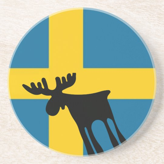 Elk/Moose with the Swedish flag Coaster