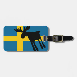 Elk/Moose with the Swedish flag Luggage Tag