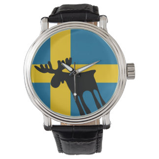 Elk/Moose with the Swedish flag Watch
