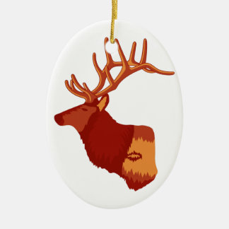 Elk Profile Ceramic Ornament