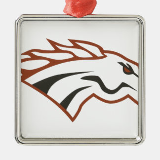 Elk River 6th Grade White Mustangs Silver-Colored Square Ornament
