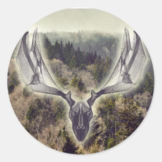 Elk skull classic round sticker