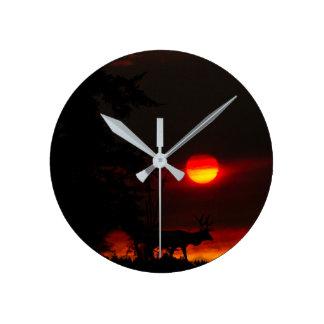 Elk Sunset Clock