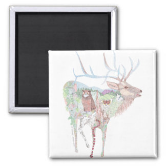 Elk (Wapiti) Meadow Habitat Square Magnet