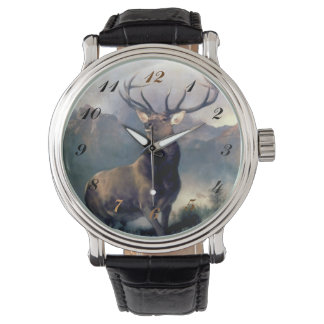 Elk Wild Animal Painting watch
